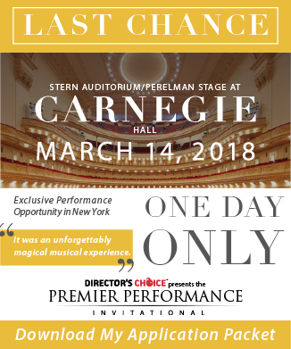 Last Chance to apply for Premier Performance Invitational at Carnegie Hall